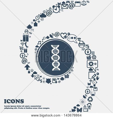 Dna Icon In The Center. Around The Many Beautiful Symbols Twisted In A Spiral. You Can Use Each Sepa