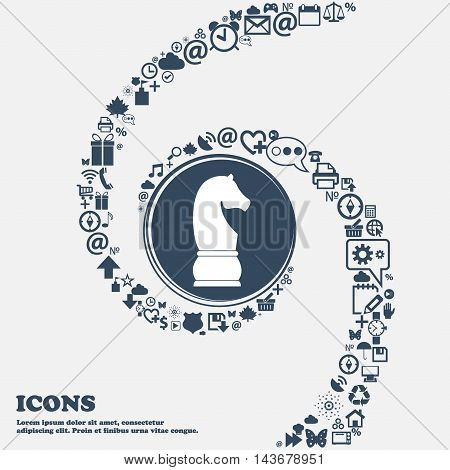 Chess Knight Icon In The Center. Around The Many Beautiful Symbols Twisted In A Spiral. You Can Use