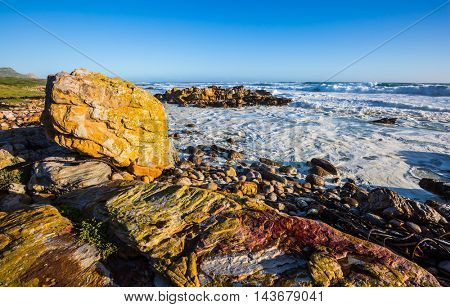 The Cape of Good Hope - the most extreme southwest point of Africa. Powerful ocean surf in the Atlantic Ocean