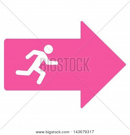 Exit Arrow icon. Vector style is flat iconic symbol with rounded angles, pink color, white background.