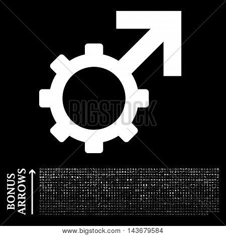 Technological Potence icon with 1200 bonus arrow and navigation pictograms. Vector illustration style is flat iconic symbols, white color, black background.