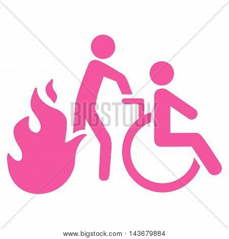 Fire Patient Evacuation icon. Vector style is flat iconic symbol with rounded angles, pink color, white background.