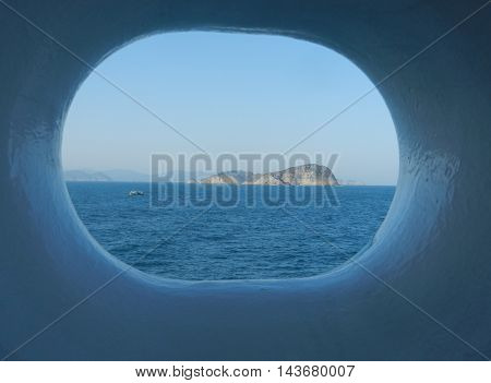 View from window hole on cruise ship hull