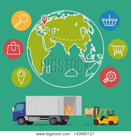 Vector delivery service concept background. Logistics in business and industry. Vector illustration on global commercial shipping with cargo semi truck and modern icons on shopping and E-commerce
