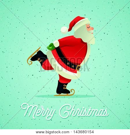 Vector illustration background of Santa Claus ice-skate. Postcard, Greeting Card, Poster, Banner