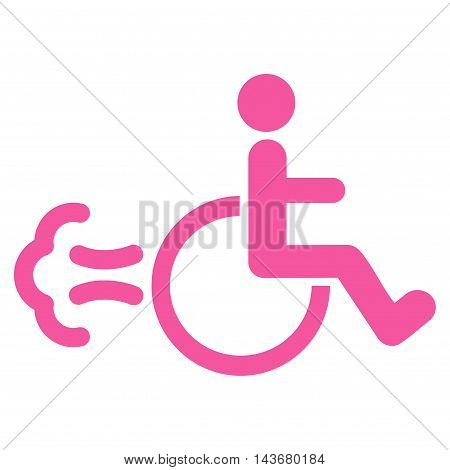 Patient Movement icon. Vector style is flat iconic symbol with rounded angles, pink color, white background.
