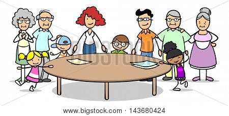 Cartoon patchwork family with grandparents and kids at round table