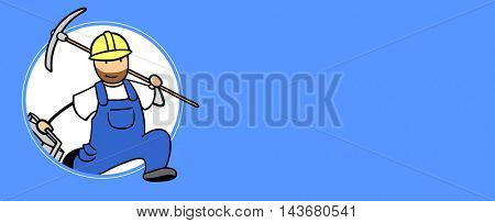 Fast blue collar worker running through a blue background