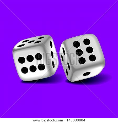 Vector illustration of a pair of dice with double six