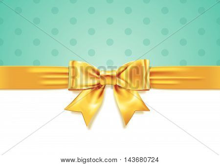 Vector illustration of Yellow Gift Bow on white and turquoise background