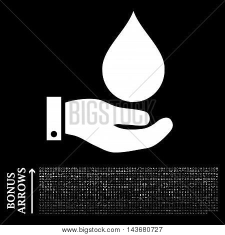 Water Service icon with 1200 bonus arrow and direction pictograms. Vector illustration style is flat iconic symbols, white color, black background.