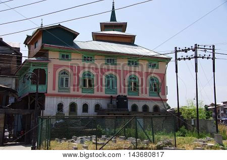 Traditional house in Srinagar in Kashmir, India