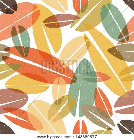 Vector illustration of Chalk Leaves Seamless Background