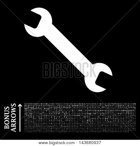 Wrench icon with 1200 bonus arrow and direction pictograms. Vector illustration style is flat iconic symbols, white color, black background.