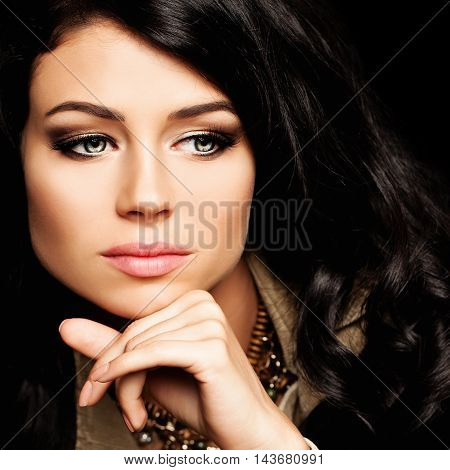 Cute Girl with Curly Hairstyle. Fashion Portrait
