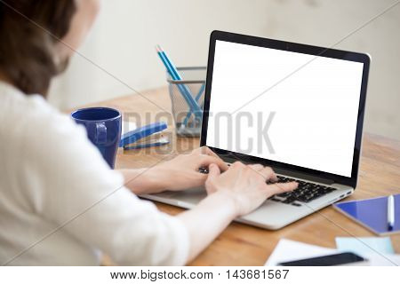 Young Office Woman Typing On Laptop. Closeup