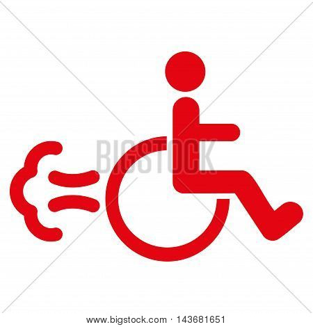 Patient Movement icon. Vector style is flat iconic symbol with rounded angles, red color, white background.