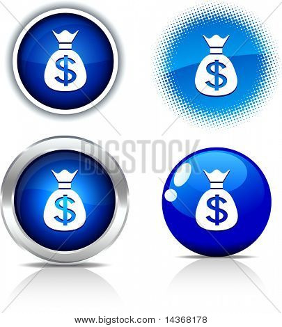 Money beautiful buttons. Vector illustration.