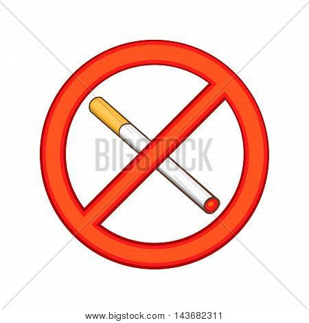 Smoking is prohibited icon in cartoon style isolated on white background. Sign symbol