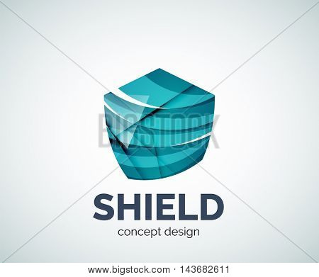 Shield logo business branding icon, created with color overlapping elements. Glossy abstract geometric style, single logotype