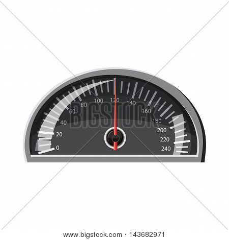 Speedometer 120 km in hour icon in cartoon style isolated on white background. Speed measurement symbol