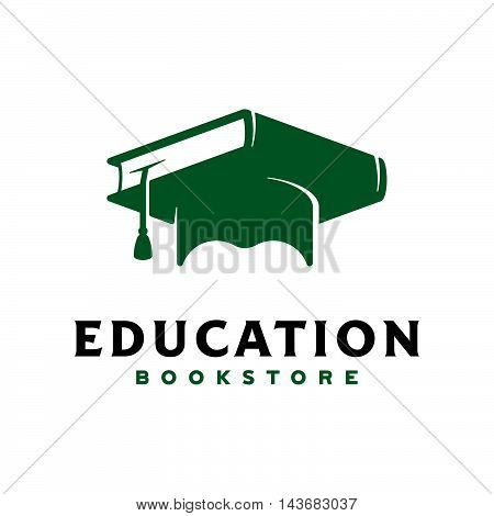 Vector illustration of Concept logo. Graduation cap with textbook.