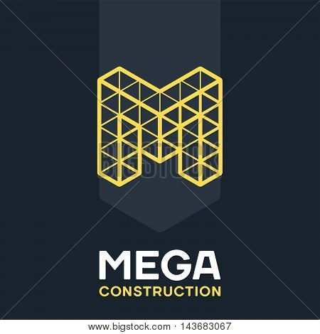 Concept logo. Geometric grid mark for Construction industry.