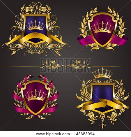 Set of golden royal shields for graphic design on background. Old frame, border, crown, floral element, ribbon, laurel wreath in vintage style for icon, label, emblem, badge, logo. Illustration EPS10