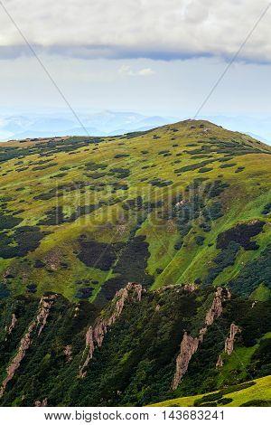 Picturesque Carpathian mountains landscape Shpytsi mount Ukraine