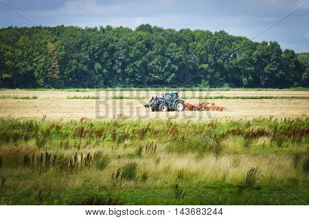 Turning grass in the biesbosch national park