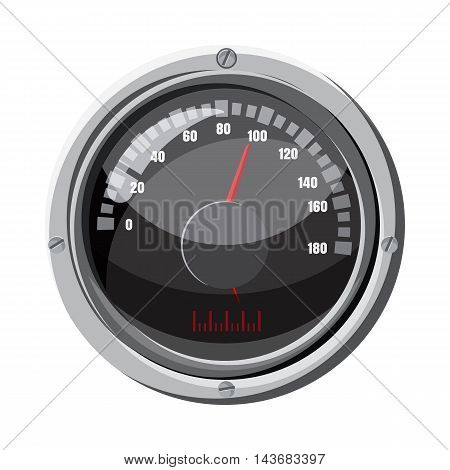 Round speedometer icon in cartoon style isolated on white background. Speed measurement symbol