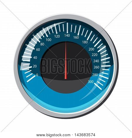 Blue speedometer icon in cartoon style isolated on white background. Speed measurement symbol