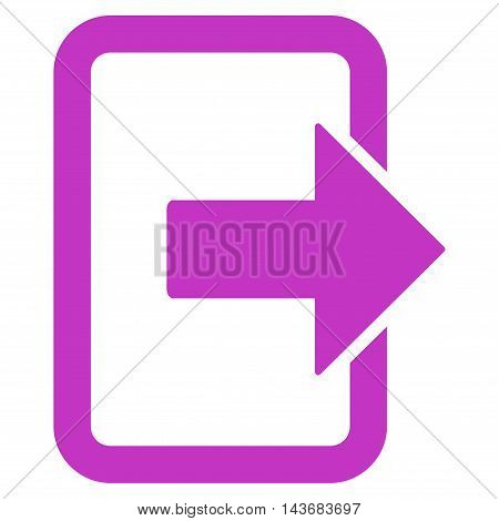 Exit Door icon. Vector style is flat iconic symbol with rounded angles, violet color, white background.