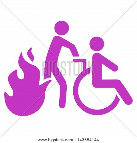 Fire Patient Evacuation icon. Vector style is flat iconic symbol with rounded angles, violet color, white background.