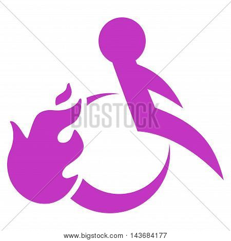 Fired Patient icon. Vector style is flat iconic symbol with rounded angles, violet color, white background.
