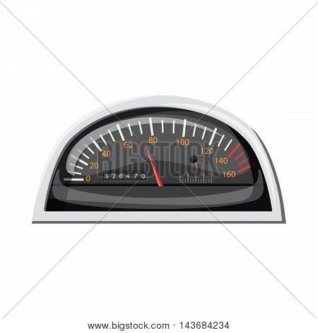 Small speedometer for car icon in cartoon style isolated on white background. Speed measurement symbol