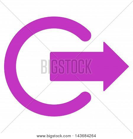 Logout icon. Vector style is flat iconic symbol with rounded angles, violet color, white background.