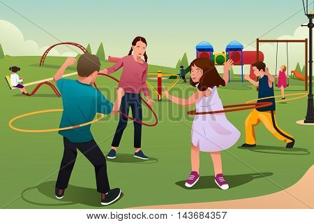 A vector illustration of happy kids playing hula hoop together in the park