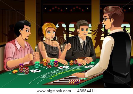 A vector illustration of happy people gambling in a casino