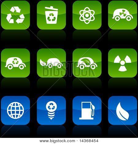 Ecology button set. Vector illustration.