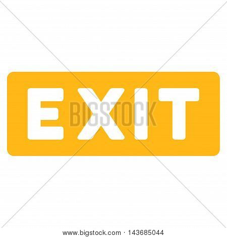 Exit Label icon. Vector style is flat iconic symbol with rounded angles, yellow color, white background.