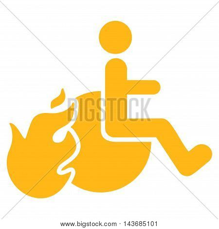 Fired Patient icon. Vector style is flat iconic symbol with rounded angles, yellow color, white background.