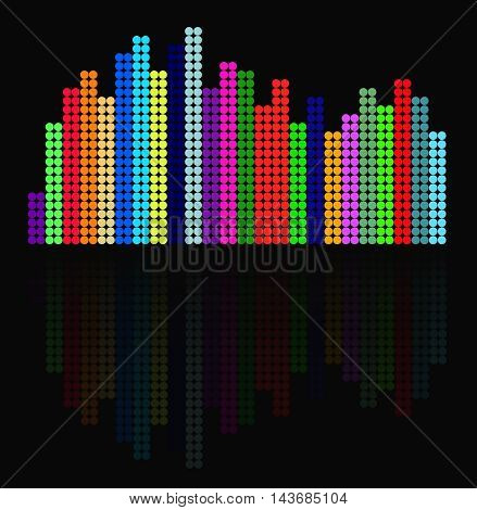 Colorful equalizer with reflection on a black background.