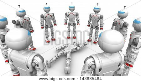 Defective robot surrounded operable. Operable humanoid robots standing in a circle on a white surface around a faulty robot. Isolated. 3D Illustration