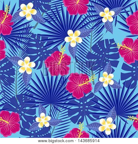 seamless tropical leaves and flowers - palm, monstera, hibiscus and plumeria