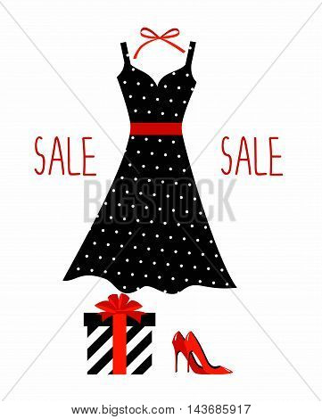 illustration of a polka-dot dress on a hanger, shoes and gift wrapping. hanger with fashion women summer clothing. Fashion boutique for design fashion