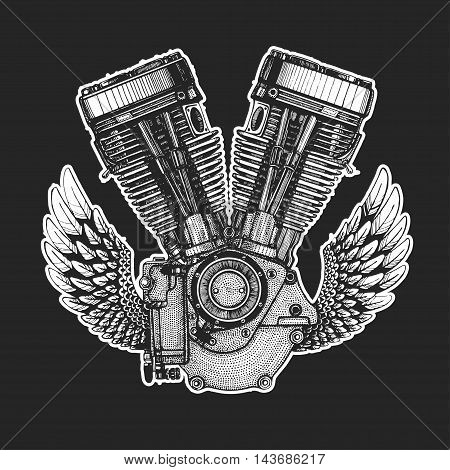 Hand drawn vector icon of engine Image of motorcycle engine