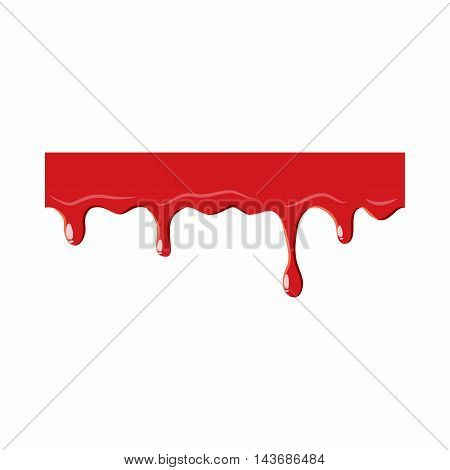Dripping down blood icon isolated on white background. Liquid symbol