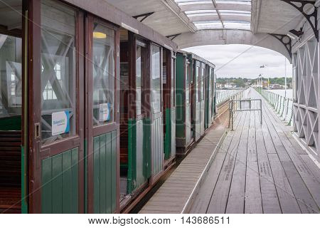 Hythe/UK. 21st August 2016. The Hythe Pier and railway is the oldest continuously operating public pier train in the world. The service and ferry links Hythe in the New Forest and Southampton.