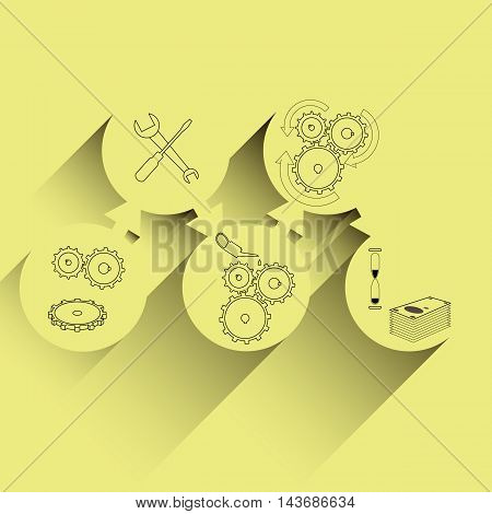 finance gear mechanism concept vector illustration on yellow backrground